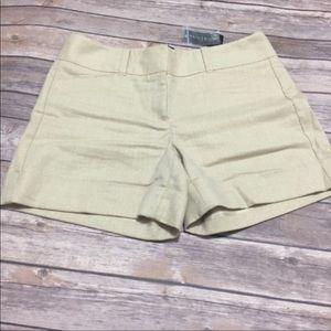 White House Black Market shimmer linen shorts NWT